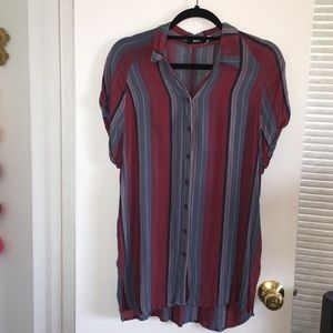 Striped multi color button down shirt - BDG